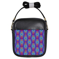 Red Blue Bee Hive Girls Sling Bags