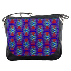 Red Blue Bee Hive Messenger Bags