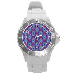 Red Blue Bee Hive Round Plastic Sport Watch (l)
