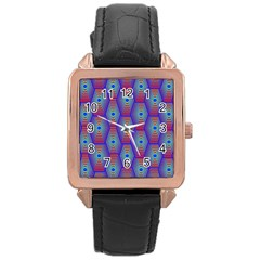 Red Blue Bee Hive Rose Gold Leather Watch