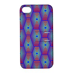 Red Blue Bee Hive Apple Iphone 4/4s Hardshell Case With Stand