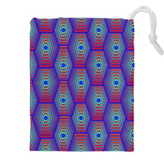 Red Blue Bee Hive Drawstring Pouches (xxl)