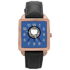 Rocket Ship App Icon Rose Gold Leather Watch