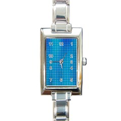 Seamless Blue Tiles Pattern Rectangle Italian Charm Watch