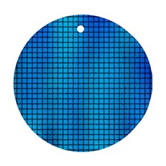 Seamless Blue Tiles Pattern Ornament (round)