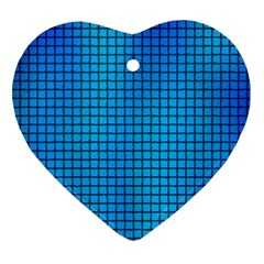 Seamless Blue Tiles Pattern Ornament (Heart)