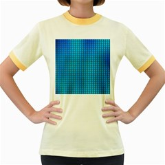 Seamless Blue Tiles Pattern Women s Fitted Ringer T Shirts