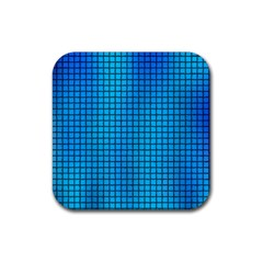 Seamless Blue Tiles Pattern Rubber Square Coaster (4 Pack)