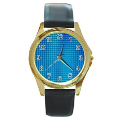 Seamless Blue Tiles Pattern Round Gold Metal Watch