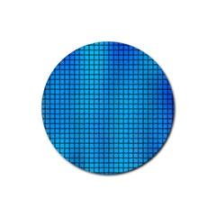 Seamless Blue Tiles Pattern Rubber Round Coaster (4 Pack)
