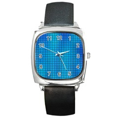 Seamless Blue Tiles Pattern Square Metal Watch