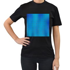 Seamless Blue Tiles Pattern Women s T Shirt (black) (two Sided)