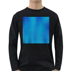 Seamless Blue Tiles Pattern Long Sleeve Dark T Shirts