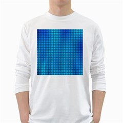 Seamless Blue Tiles Pattern White Long Sleeve T Shirts