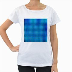 Seamless Blue Tiles Pattern Women s Loose Fit T Shirt (white)