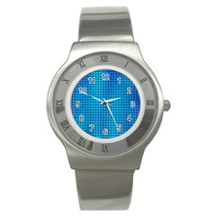 Seamless Blue Tiles Pattern Stainless Steel Watch