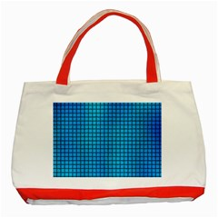 Seamless Blue Tiles Pattern Classic Tote Bag (red)