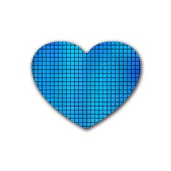 Seamless Blue Tiles Pattern Heart Coaster (4 Pack)