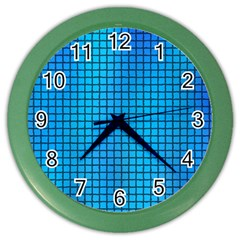 Seamless Blue Tiles Pattern Color Wall Clocks