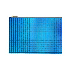 Seamless Blue Tiles Pattern Cosmetic Bag (large)
