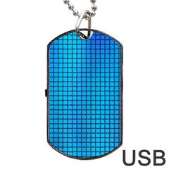 Seamless Blue Tiles Pattern Dog Tag USB Flash (One Side)