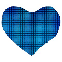 Seamless Blue Tiles Pattern Large 19  Premium Heart Shape Cushions