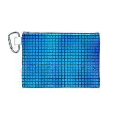 Seamless Blue Tiles Pattern Canvas Cosmetic Bag (m)