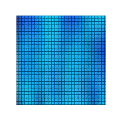Seamless Blue Tiles Pattern Small Satin Scarf (square)