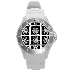 Snowflakes Exemplifies Emergence In A Physical System Round Plastic Sport Watch (l)