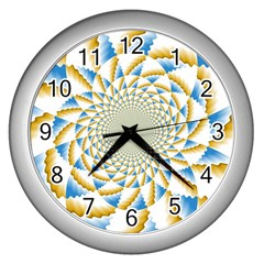 Tech Neon And Glow Backgrounds Psychedelic Art Psychedelic Art Wall Clocks (Silver)