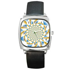 Tech Neon And Glow Backgrounds Psychedelic Art Psychedelic Art Square Metal Watch