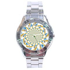 Tech Neon And Glow Backgrounds Psychedelic Art Psychedelic Art Stainless Steel Analogue Watch