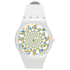 Tech Neon And Glow Backgrounds Psychedelic Art Psychedelic Art Round Plastic Sport Watch (m)
