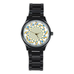 Tech Neon And Glow Backgrounds Psychedelic Art Psychedelic Art Stainless Steel Round Watch