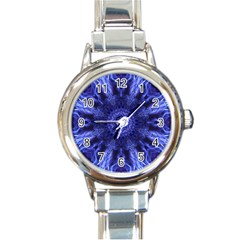 Tech Neon And Glow Backgrounds Psychedelic Art Round Italian Charm Watch