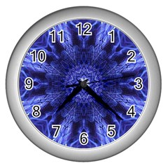 Tech Neon And Glow Backgrounds Psychedelic Art Wall Clocks (silver)