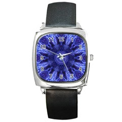 Tech Neon And Glow Backgrounds Psychedelic Art Square Metal Watch