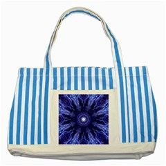Tech Neon And Glow Backgrounds Psychedelic Art Striped Blue Tote Bag