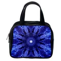Tech Neon And Glow Backgrounds Psychedelic Art Classic Handbags (one Side)