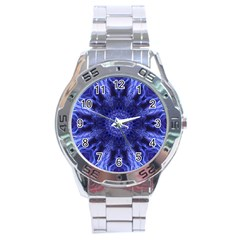 Tech Neon And Glow Backgrounds Psychedelic Art Stainless Steel Analogue Watch