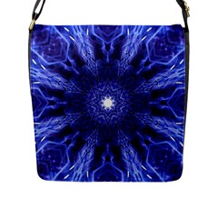 Tech Neon And Glow Backgrounds Psychedelic Art Flap Messenger Bag (l)