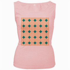 Tile Pattern Wallpaper Background Women s Pink Tank Top