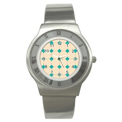 Tile Pattern Wallpaper Background Stainless Steel Watch