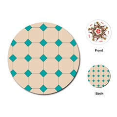 Tile Pattern Wallpaper Background Playing Cards (round)