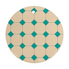 Tile Pattern Wallpaper Background Round Ornament (two Sides)