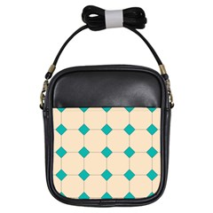 Tile Pattern Wallpaper Background Girls Sling Bags