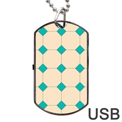 Tile Pattern Wallpaper Background Dog Tag Usb Flash (two Sides)