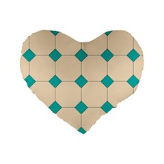 Tile Pattern Wallpaper Background Standard 16  Premium Heart Shape Cushions