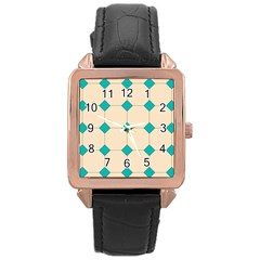 Tile Pattern Wallpaper Background Rose Gold Leather Watch
