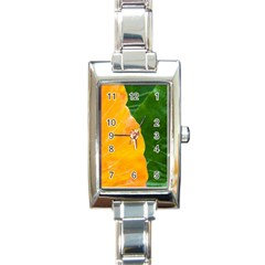 Wet Yellow And Green Leaves Abstract Pattern Rectangle Italian Charm Watch